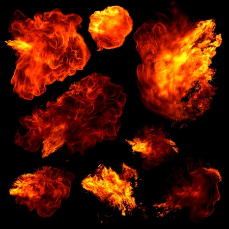 Collection of fireballs isolated on black Stock Photo - 13392152