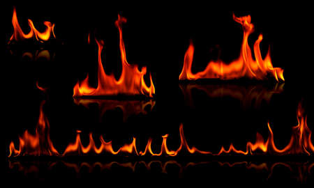 Collection of flames isolated on black Stock Photo - 13392070