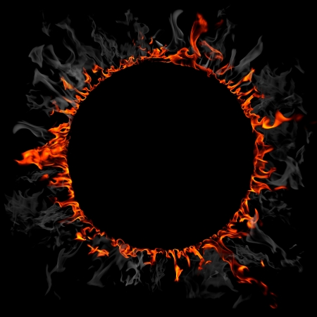 fire circle: Fire and smoke ring Stock Photo