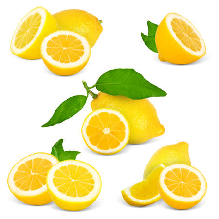 Collection of lemon with slices and leaves isolated on white Stock Photo - 13392232