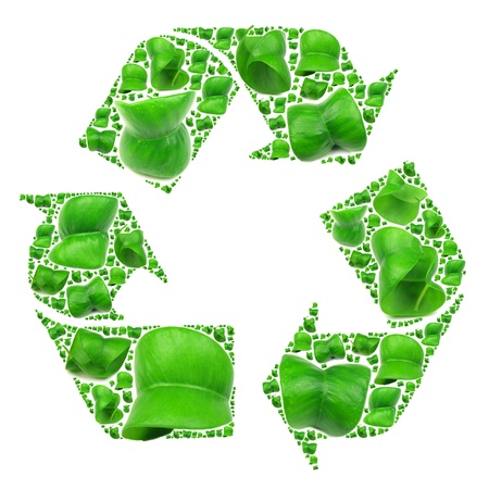 antipollution: Recycle icon made of fresh green leaves Stock Photo