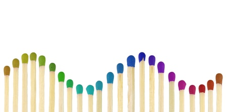 matchstick: Match sticks with colored heads isolated on white