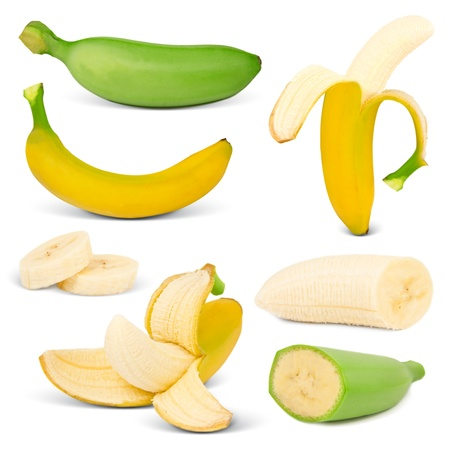 peeled banana: Banana collection isolated on white