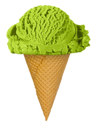 Pistachio ice cream isolated on white photo