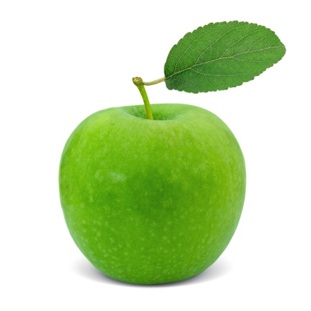 Green apple with leaf isolated on white photo