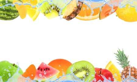 mixed wallpaper: Fruit with splash isolated on white