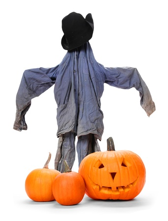 Pumpkins with scarecrow isolated on white photo