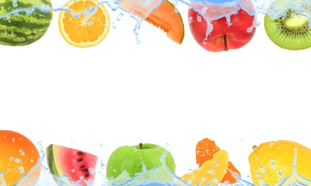 liquid summer: Fruit with splash isolated on white