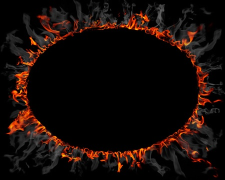 Ring made of fire and smoke photo