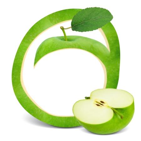 frame design: Green apple frame with leaf and slice