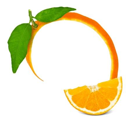 orange peel: Orange frame with leaves and slice Stock Photo