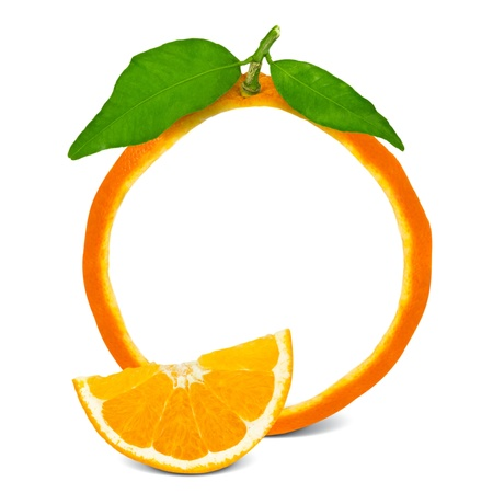 orange slices: Orange frame with leaves and slice Stock Photo