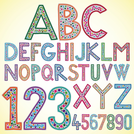 Illustration of colored alphabet Vector