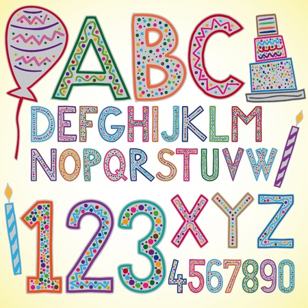 Illustration of colored birthday alphabet Vector
