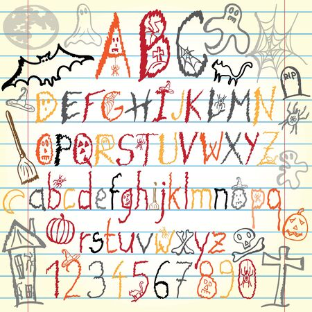 Halloween alphabet Vector
