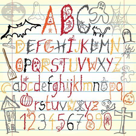 Halloween alphabet Vector