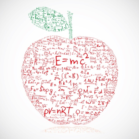 physic: Apple made of equations and formulas  Illustration