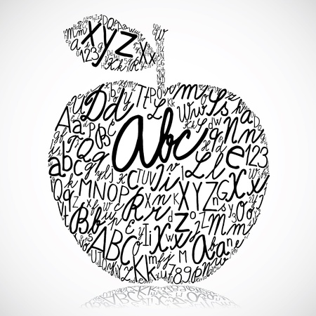 letterpress words: Apple made of alphabet letters