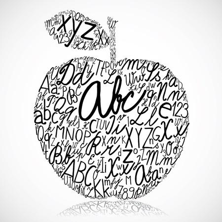 letterpress words: Apple made of alphabet letters