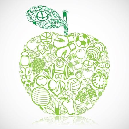 Apple gemaakt van fitness-symbolen
