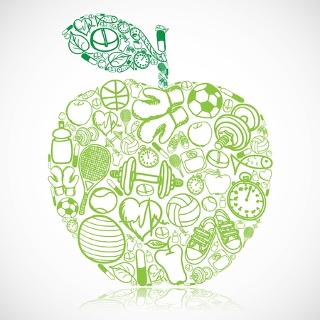 healthy lifestyle: Apple made of fitness symbols