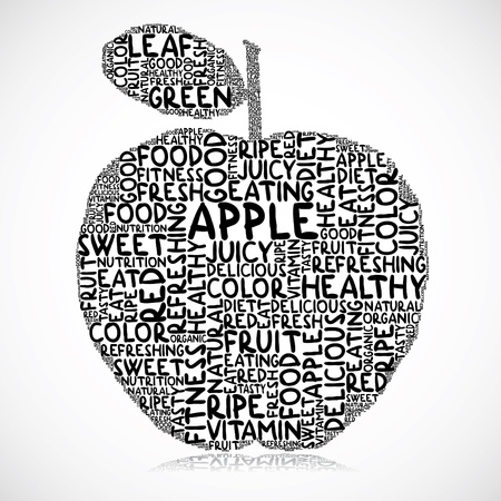 Illustration of apple made of words