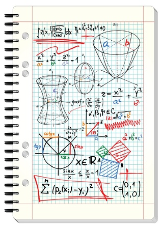 parabola: Squared pad with mathematical sketches and formulas