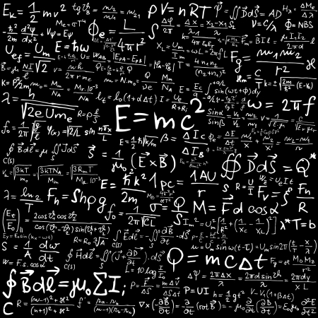 Blackboard with physical formulas