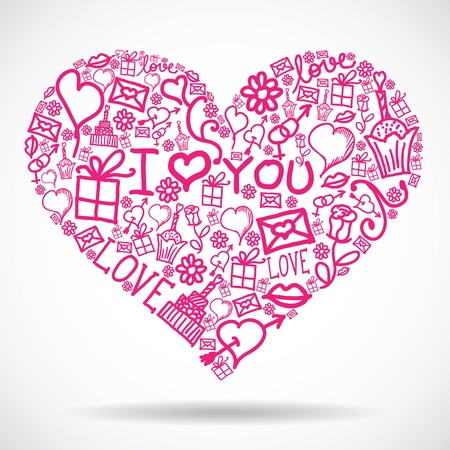 Heart made of Valentine symbols Stock Vector - 13598901