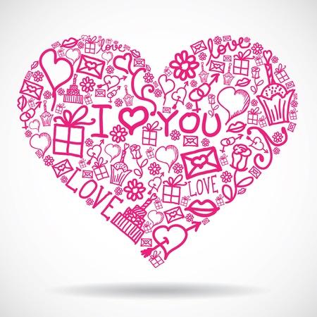 Heart made of Valentine symbols Stock Vector - 13598901