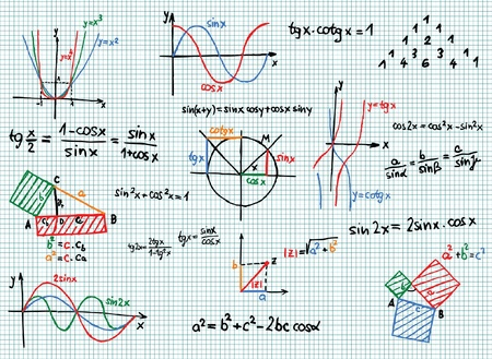 theory: Paper with colored mathematics formula and sketches  Illustration