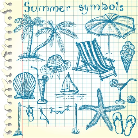Hand-drawn summer symbols  Vector