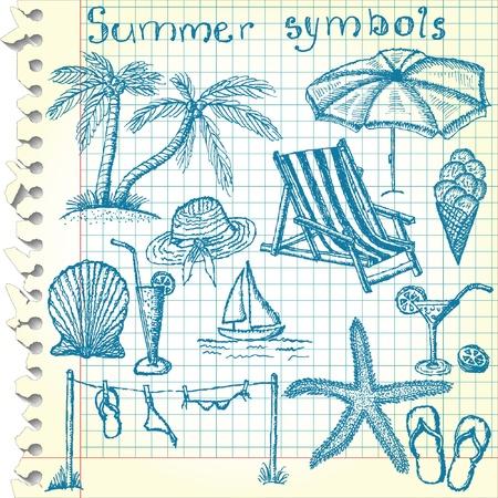 Hand-drawn summer symbols  Vector