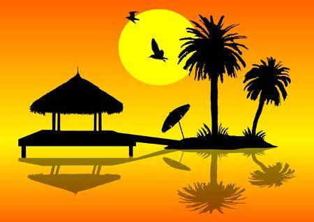beach hut: Island with palms and hut