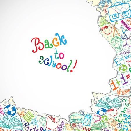 balon baloncesto: Antecedentes hecha de papeles con s�mbolos coloridos de la escuela Vectores