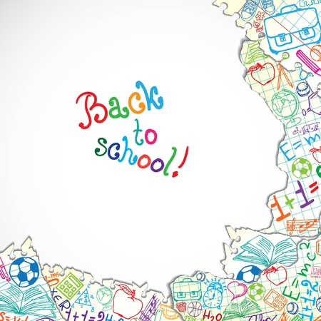 exercisebook: Background made of papers with colorful school symbols