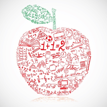 Apple made of school symbols Vector