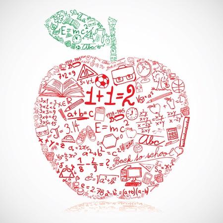 physics background: Apple made of school symbols