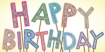 Illustration of Happy Birthday sign Illustration