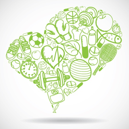 good health: Heart made of fitness symbols - vector illustration