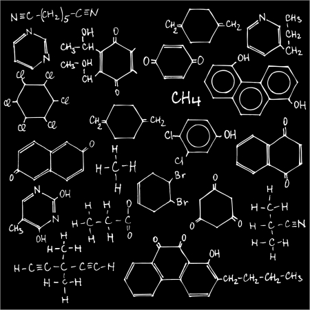 organic compound: Blackboard with chemical formulas - vector illustration