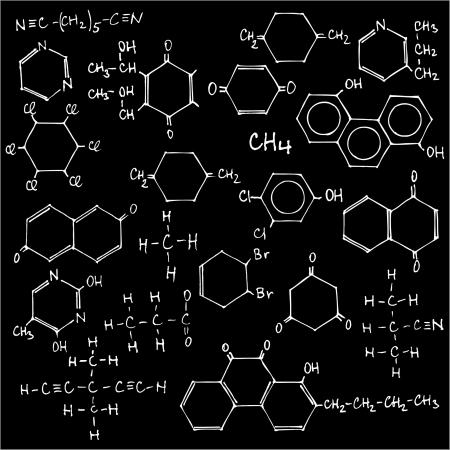 quimica organica: Pizarra con fórmulas químicas - ilustración vectorial