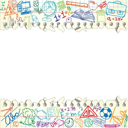 Background made of papers with colorful school symbols Vector