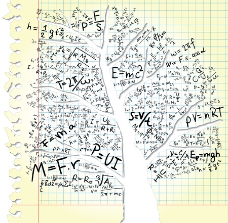 Paper with tree and equations Vector