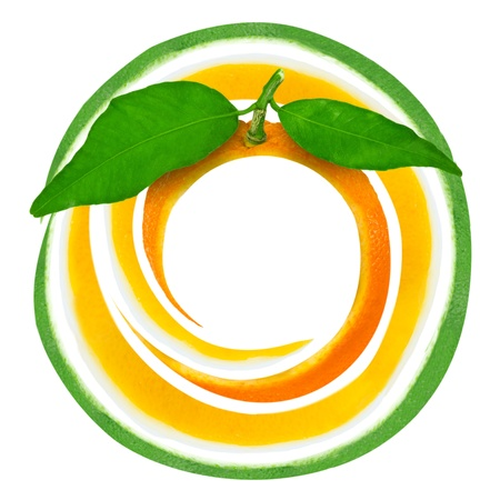 Citrus spiral with leaves isolated on white photo