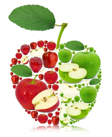mix fruit: Apple made of red and green apples with leaf isolated on white