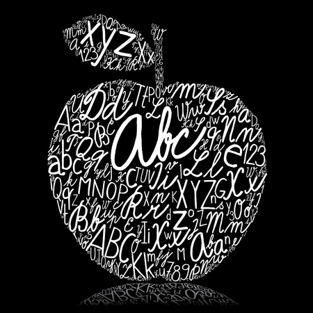 elementary: Apple made of alphabet letters