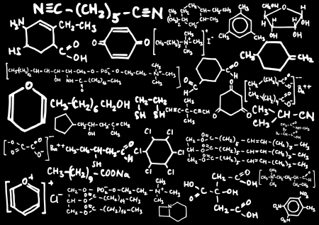 chemical compound: Blackboard with chemical formulas  Illustration