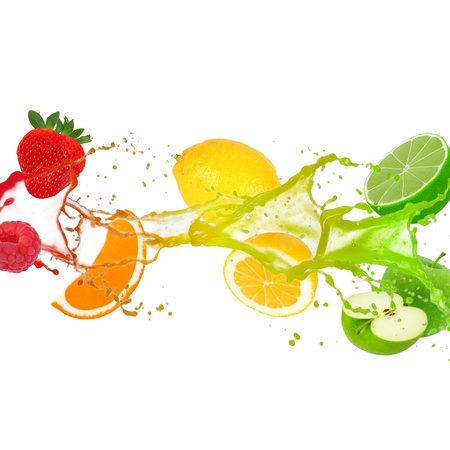Colorful splash with fruit isolated on white photo