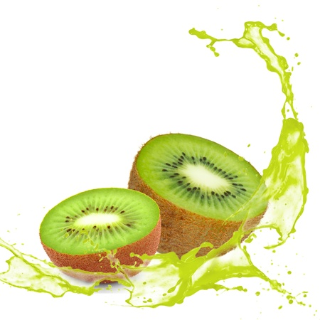 Kiwi with splash isolated on white